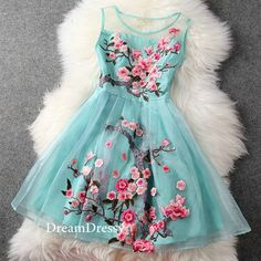 Blue short floral flower homecoming dresses/summer by DreamDressy, $84.99