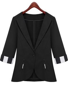 Black Lapel Half Sleeve Pockets Fitted Blazer pictures