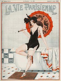 La Vie Parisienne, 1919 and 1923 French Art Deco risque magazines. via Etsy. Art by Leo Fontan Art Deco Illustration, Magazine Illustration, Woman Illustration, Vintage Illustrations, Cover Art, Art Quotidien, Art Nouveau, Retro Poster, Kunst Poster