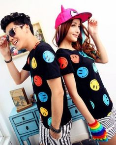CUTE SMILING FACE PRINT COUPLE T SHIRT
