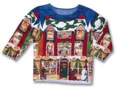 Christmas Village Holiday Town Scene Top with Sequins W Medium #SamanthasStyle #ladiestop