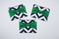 Bridesmaid Gift Set of Three Cosmetic Cases - Navy Chevron with Green Bow by AlmquistDesignStudio on Etsy