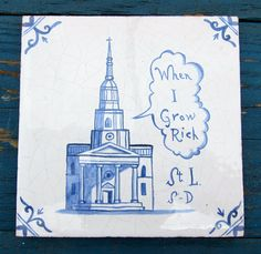 St. Leonard's Church, Shoreditch, Ceramic delft tile