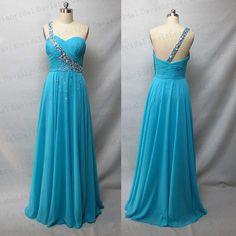 Fashion a line floor length bule chiffon prom dress//one shoulder beaded crystal long prom dress//formal prom dresses//blue evening dress