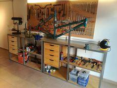 Dirt Bike Shop, Bicycle Shop, Bike Store, Workshop Storage, Home Workshop, Garage Workshop, Bicycle Garage, Bike Shed, Garage Organization