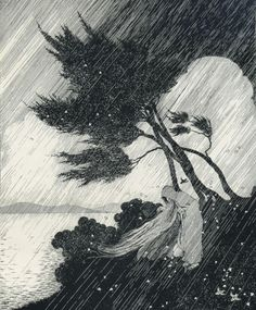 Ida Rentoul aka Ida Rentoul Outhwaite aka Ida Sherbourne Rentoul (Australian, 1888-1960, b. Carlton, Melbourne, Australia) - The Storm from The Little Fairy Sister, 1923