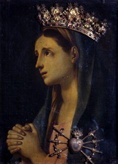 Un dipinto della Madonna Addolorata nella chiesa di Trinità dei Pellegrini a Napoli, Italia.