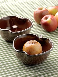 Apple Bakers, set of 2. Baked apples will become your new favorite dessert with these oven-safe ceramic bowls. So easy to make! Simply core two apples, place in the bowls, add toppings (maple syrup, honey, butter, nuts, spices) and a tablespoon of water, and then bake at 350 degrees F for 20 to 30 minutes.