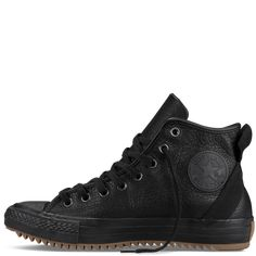 Chuck Taylor All Star - Black Leather - Converse Boat Shoes, Men's Shoes, Shoe Boots, Converse All Star, Converse Shoes, Leather Converse, Kicks Shoes, Fashion Shoes, Mens Fashion