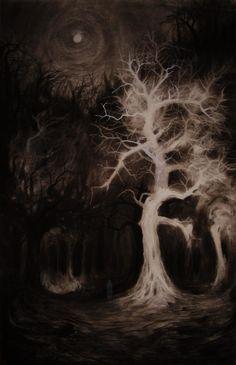 the great fuck in the shitty satanic forest by vergvoktre on DeviantArt Dark Fantasy Art, Dark Art, Arte Horror, Horror Art, Necronomicon Lovecraft, Art Sinistre, Stare Into The Abyss, Satanic Art, Creepy Art