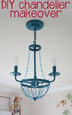DIY chandelier makeover for two dollars and a can of spray paint!