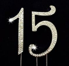 Rhinestone 15th Year Quinceanera Crystal Numbers Cake Topper Silver - 15 - Elegant Sparkling Happy Birthday or Wedding Anniversary Party Gift Idea, Decorations, Supplies, Toppers by FAJ