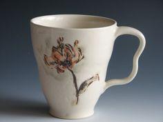 Flower Design Ceramic Coffee Mug Porcelain Pottery Mug Cup