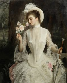 "Gustave-Jean Jacquet ( France 1846 / 1909). ""An Elegant Bouquet"" - 1886 - Oil on canvas."