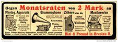 Original-Werbung/Anzeige 1906 - PHOTOG.APPARATE/ GRAMMOPHONE/ ZITHERN / MUSIKWERKE - BIAL & FREUND BRESLAU -ca.140x50 mm