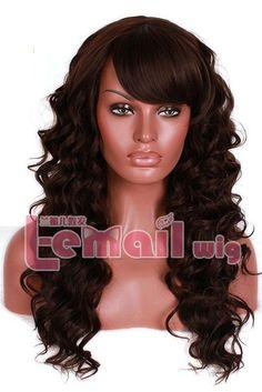 60Cm/24Inch Long Dark Brown Wavy Women Synthetic Hair Fashion Wig Fl12