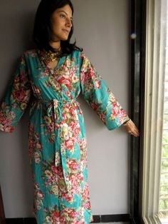 Ankle length Teal Kimono Robe - Floral Crossover Robe..getting ready robe, bridal robe..make lovely pre-wedding photos..wedding favors