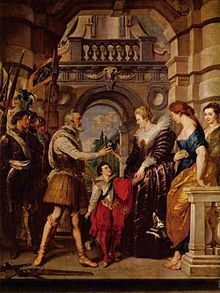 9. Consignment of the Regency (from Marie de' Medici Cycle) - Peter Paul Rubens.  1622-25.  Oil on canvas.  394 x 295 cm.  Musee du Louvre, Paris, France.