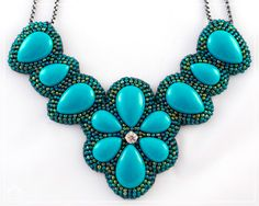 Maxi Colar Turquoise Flower