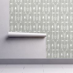Arrow Wallpaper - Archery Silver By Littlerhodydesign - Bohemian Arrow Custom Printed Removable Self Adhesive Wallpaper Roll by Spoonflower Self Adhesive Wallpaper, Custom Wallpaper, Wallpaper Roll, Peel And Stick Wallpaper, Designer Wallpaper, Drawer And Shelf Liners, Perfect Wallpaper, Diy Hanging, Paint Cans