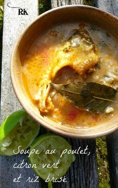 La soupe réconfortante au poulet, citron vert et riz brisé de Guinée Bissau Thai Red Curry, Ethnic Recipes, African Recipes, Nutrition, West Africa, Foods, Cream Soups, Poultry, Rice