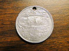 "1893 Columbian Exposition Souvenir Medal Token Wm Deering & Co Chicago - Aluminum - 1 1/8"" Diameter - Holed For Pendant - Beautiful Detail! by EagleDen on Etsy"