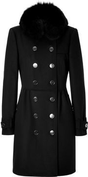 Burberry London Wool-Cashmere Bridge Coat with Fur Trim in Black on shopstyle.com