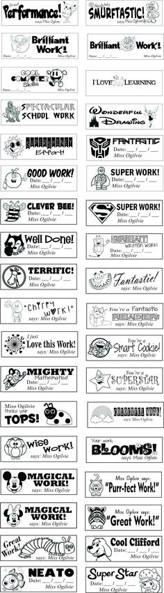 TEACHER REWARD SELF-INKING STAMPS/TEMPLATE  Purchase of the stamp template is .jpg format only = $5.00  Stamp Casing Plastic: 1x small (36x12mm) stamp = $24.75  1x large (57x21mm) stamp = $34.75  Ink cost: Black: Nil  Red/Blue/Green=$3.99 Postage from $7:20  Items are pre-paid, via PAYPAL or Direct Deposit. Special order requests are accepted. Designs available: will be printed with  NO BOARDER, Wording and design only! Contact: srs_designs@optusnet.com.au