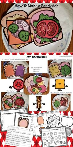How to make a sandwich: sequencing craft and pages. Make a sandwich with paper before using real items. Sequencing activities too. Sequencing Activities, Comprehension Activities, Language Arts Worksheets, Teacher Helper, First Year Teachers, Creative Teaching, Teaching Ideas, How To Make Sandwich, Fun Learning