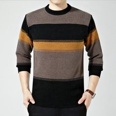 New Hot Sale Good Quality Male Sweaters Thick Striped Pullovers O-neck Casual Wear Loose Large Size Comfortable Full Sleeve