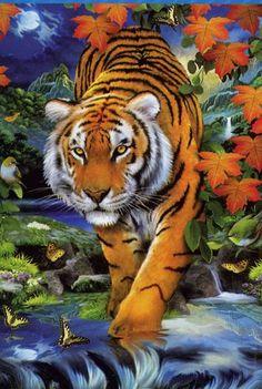 Este tigre no es tan fiero pero impresiona gracias al efecto 3D, que una vez terminado puede apreciarse con las gafas facilitadas. Es de CLEMENTONI (50x70 aprox. - 1000 Piezas).