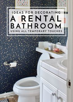 Check out these awesome and budget-friendly ideas for decorating a rental bathroom (using all temporary touches!) decor rental Ideas for Decorating a Rental Bathroom Using All Temporary Touches Apartment Decorating On A Budget, Rental Decorating, Decorating Ideas, Apartment Bathroom Decorating, Decorate Apartment, Rental Home Decor, Cheap Home Decor, Home Design, Design Ideas