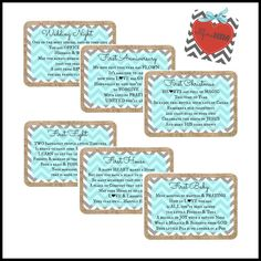 Bridal Shower Gift Idea Adorable Burlap Chevron Tags With A Poem On Each