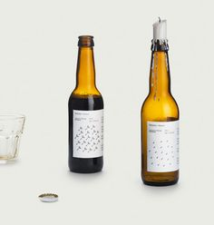 Danish brewery Mikkeller - graphic morphs from dandelion seeds (when the bottle is cold) to rain (when the bottle is warm)