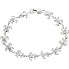Journee Collection Sterling Silver Turtle Bracelet ($50) ❤ liked on Polyvore featuring jewelry, bracelets, white, lobster clasp charms, sterling silver turtle jewelry, turtle charm, white jewelry and journee collection