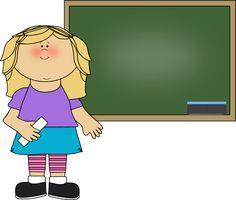Girl Standing at Chalkboard Clip Art - Girl Standing at Chalkboard Image