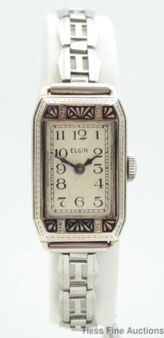 Very Rare 14k Gold Enamel Ultra Art Deco 1930s Long Ladies Elgin Wrist Watch #Elgin #Dress
