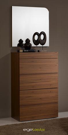 Egelasta · Mueble · Moderno · Madera · Nogal Americano · Frente recto · Espejo · Chifonier 011