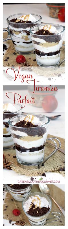 Chocolate Caramel Vegan Tiramisu Parfait. Traditional Tiramisu is a classic Italian dessert made with lady fingers dipped in coffee, and layered with a cream made of eggs, sugar and Mascarpone cheese flavored with cocoa. My vegan version uses healthy chocolate and vanilla crumbles, a chocolate syrup tinged with espresso, faux mascarpone recipe swirled with cacao, …