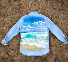 hand painted denim shirt jacket sea waves Shirt Jacket, Denim Shirt, Sea Waves, Under The Sea, Landscape Paintings, Textiles, One Piece, Hand Painted, The Originals