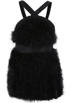 Black Spaghetti Strap Rabbit Fur Dress US$39.34