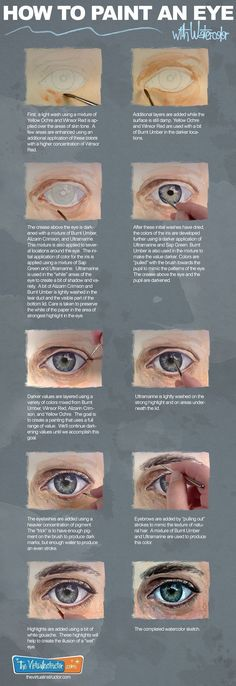 How to Paint an Eye with Watercolor Infographic #paintinginfographics