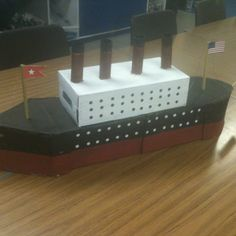 Model Titanic one of my made at home & brought in. Class Projects, Science Projects, School Projects, Projects For Kids, Diy Projects, Titanic Boat, Titanic Model, Paper Crafts For Kids, Fun Crafts