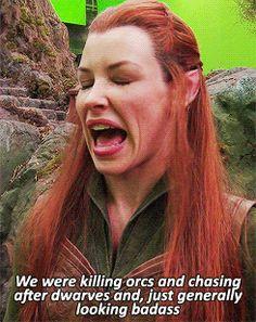 1k gifs the hobbit peter jackson behind the scenes Evangeline Lilly the hobbit cast