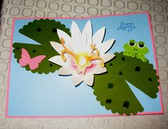 lotus pop up card with peeping frog using Stampin' Up die Scallop circle for lily pads , beautiful wings embosslits butterfly oval and circle punches for frog