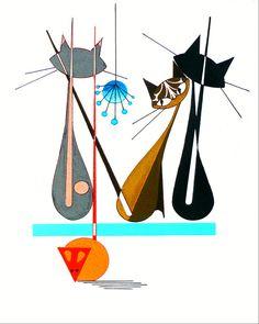 Atomic Mid Century Modern Cat Print Retro Art by COLBYandFRIENDS