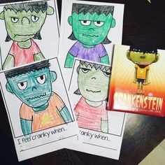 Use this simple free printable writing page to write a sentence about what makes you cranky and draw yourself as Crankenstein! Great writing and drawing activity for fall or Halloween!