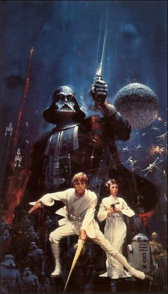 Finished artwork by John Berkey used for the Star Wars novelization (1977)