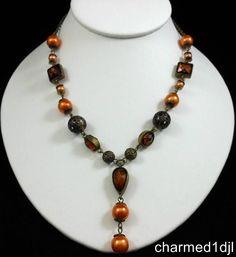 "Vintage Style Amber Rhinestone Faux Pearl Ornate Y Necklace 18"" Long Adj Pretty! #Unbranded #YNecklace"