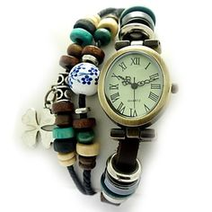 Women's Four-leaf Clover Style Leather Band Vintage Quartz Analog Bracelet Watch , Free Shipping On All Gadgets!